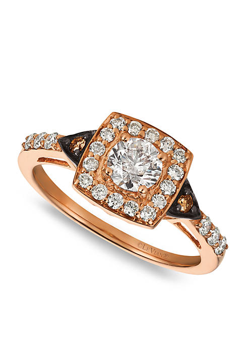 Chocolatier® Ring with 3/4 cts. Vanilla Diamonds® and 1/15 cts. Chocolate Diamonds® in 14K Strawberry Gold