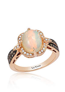 Neopolitan Opal™ with Chocolate Diamonds® and Vanilla Diamonds® Ring in 14K Strawberry Gold®