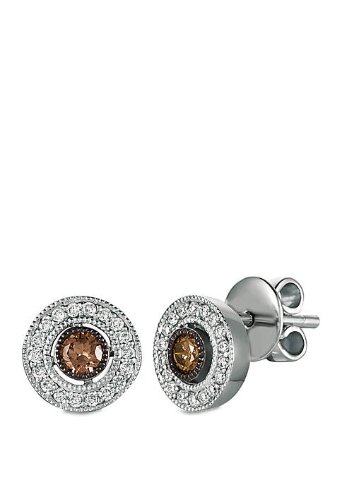 1/4 ct. t.w. Chocolate Diamonds® and 1/5 ct. t.w. Vanilla Diamonds® Earrings in 14k Vanilla Gold®
