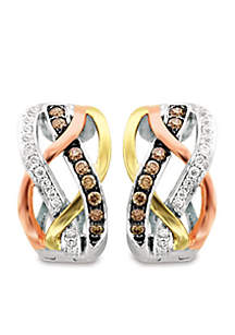 Le Vian Chocolatier Earrings featuring 1/5 cts. Chocolate Diamonds, 1/8 cts. Vanilla Diamonds set in 14K Three Tone Gold