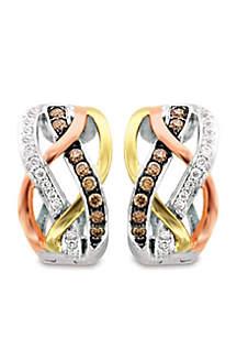 Le Vian Chocolatier Earrings featuring 1/5 cts. Chocolate Diamonds, 1/8 cts. Vanilla Diamonds set in 14K Three Tone Gold