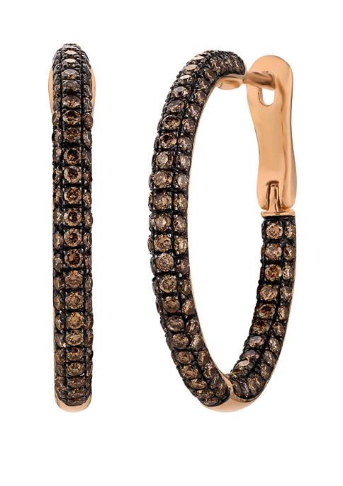 1.78 ct. t.w. Brown Diamond Hoop Earrings in 14k Rose Gold