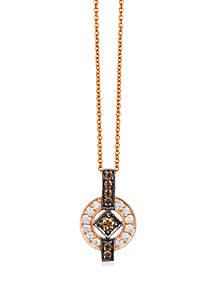 2/5 ct. t.w. Chocolate Diamonds® and 1/8 ct. t.w. Vanilla Diamonds® Pendant Necklace in 14k Strawberry Gold®