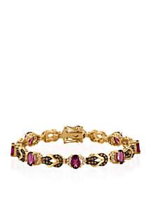 Raspberry Rhodolite®, Vanilla Diamonds®, and Chocolate Diamonds® Bracelet in 14k Honey Gold™