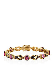 Le Vian® Raspberry Rhodolite®, Vanilla Diamonds®, and Chocolate Diamonds® Bracelet in 14k Honey Gold™