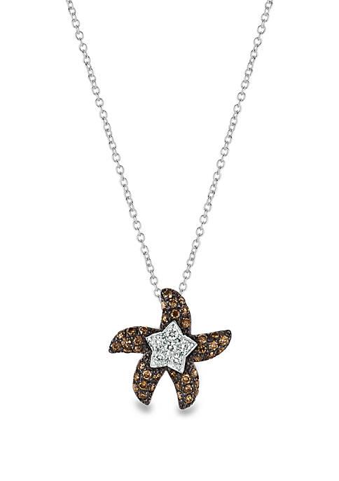 1/3 ct. t.w. Chocolate Diamonds® and 1/10 ct. t.w. Vanilla Diamonds® Pendant Necklace in 14k Vanilla Gold®
