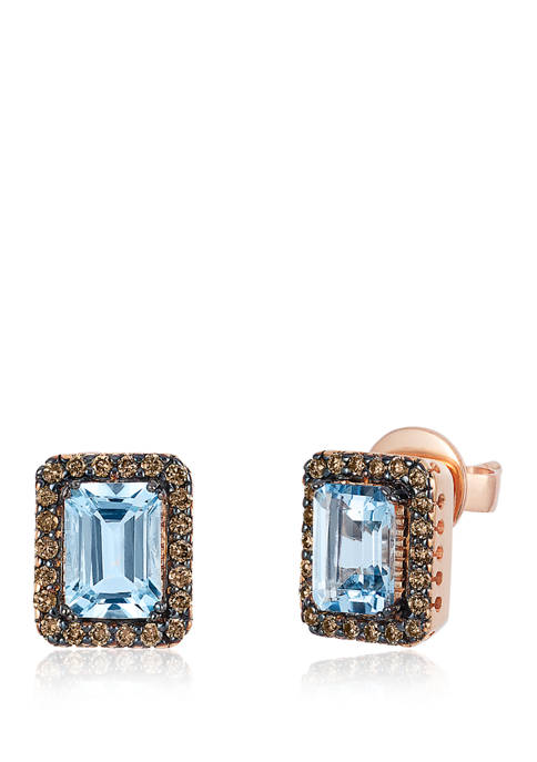 1/3 ct. t.w. Diamond and 1.4 ct. t.w. Aquamarine Earrings in 14K Rose Gold