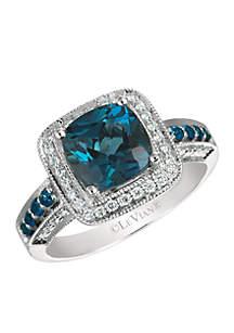 Le Vian Deep Sea Blue Topaz, Blueberry Sapphires, and Vanilla Diamonds Ring in 14k Vanilla Gold