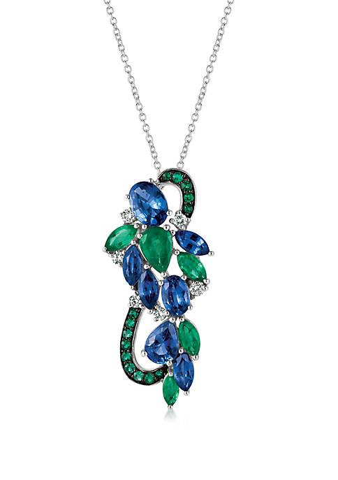 2.9 ct. t.w. Cornflower Ceylon Sapphire™, 1.2 ct. tw. Costa Smeralda Emeralds™, and 1/5 ct. t.w. Vanilla Diamonds® Pendant in 14k Vanilla Gold®