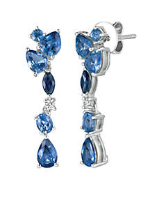 Blueberry Sapphires, Cornflower Ceylon Sapphire, and Vanilla Diamonds® Earrings in 14k Vanilla Gold®