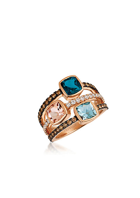 Le Vian® Deep Sea Blue Topaz Peach Morganite
