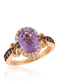 Le Vian® Candy Colors® Amethyst with Chocolate Diamonds® and Vanilla Diamonds® Ring in 14K Strawberry Gold®