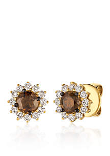 Chocolate Diamonds® and Vanilla Diamonds® Earrings in 14K Honey Gold™