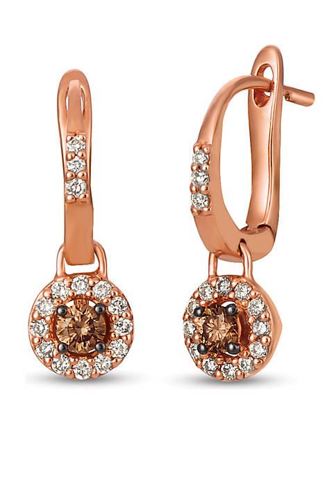 Creme Brulee® 1/4 ct. t.w. Chocolate Diamonds®, 1/4 ct. t.w. Nude Diamonds™ Earrings in 14K Strawberry Gold®
