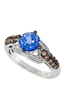 1/10 ct. t.w Chocolate Diamonds®, 1/3 ct. t.w. Vanilla Diamonds® and 1.2 ct. t.w. Ocean Blue Topaz™ Ring in 14k Vanilla Gold®