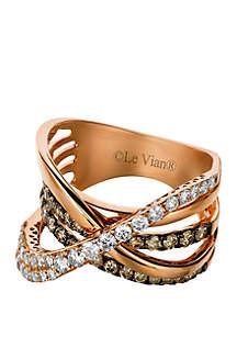 5/8 ct. t.w. Chocolate Diamonds® and 1/2 ct. t.w. Vanilla Diamonds® Ring in 14k Strawberry Gold®