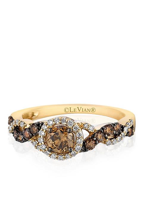 Chocolatier® Chocolate Diamonds® and Vanilla Diamonds® Ring in 14k Honey Gold™