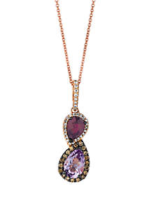 1/4 ct. t.w. Chocolate Diamonds®, 1/8 ct. t.w. Vanilla Diamonds™, 1.25 ct. t.w Cotton Candy Amethyst™ and 4/5 ct. t.w. Raspberry Rhodolite® Pendant Necklace in 14k Strawberry Gold®