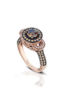 Le Vian Bridal Ring with Chocolate and Vanilla Diamonds in 14K Strawberry Gold