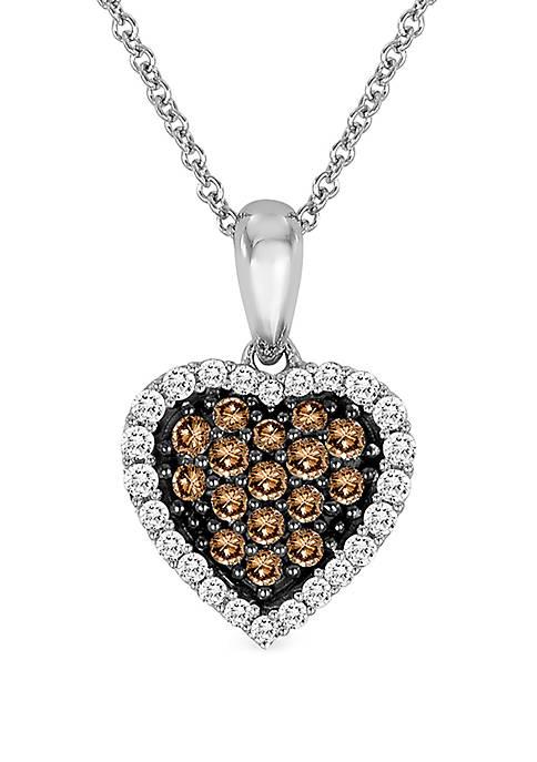1/5 ct. t.w. Chocolate Diamonds®, 1/8 ct. t.w. Vanilla Diamonds® Pendant Necklace in 14k Vanilla Gold®