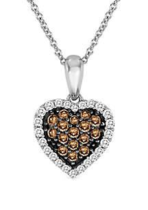 Le Vian® 1/5 ct. t.w. Chocolate Diamonds®, 1/8 ct. t.w. Vanilla Diamonds® Pendant Necklace in 14k Vanilla Gold®