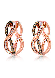 Le Vian Chocolatier Earrings featuring 1/3 cts. Chocolate Diamonds, 1/6 cts. Vanilla Diamonds set in 14K Strawberry Gold