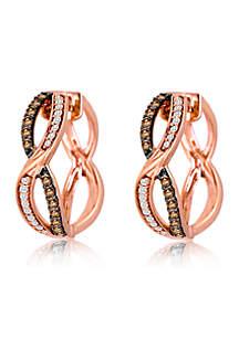 Le Vian Chocolatier Earrings featuring 1/3 cts. Chocolate Diamonds, 1/6 cts. Vanilla Diamonds set in 14K Strawberry Gold