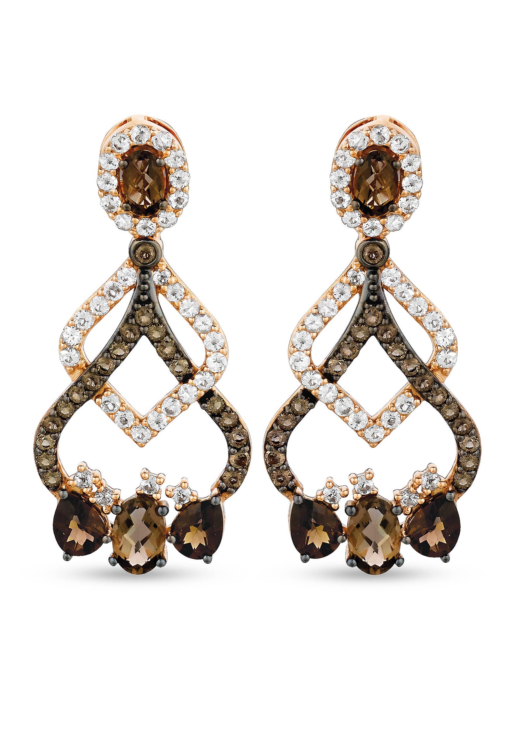 Le vian chocolate quartz chandelier earrings in 14k strawberry images arubaitofo Images