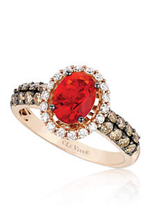 Neon Tangerine Fire Opal® with Vanilla Diamonds®, Chocolate Diamonds® Ring in 14k Strawberry Gold®