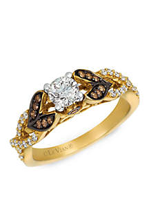 Le Vian® Le Vian Bridal Ring featuring 5/8 cts. Vanilla Diamonds, 1/8 cts. Chocolate Diamonds set in 14K Two Tone Gold