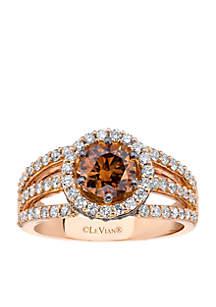 Le Vian Bridal Chocolate Diamonds and Vanilla Diamonds Ring set in 14K Strawberry Gold