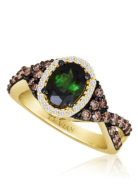 Hunters Green Tourmaline 1/10ct of Vanilla Diamonds, and 1/2ct of Chocolate Diamonds set in 14k Honey Gold