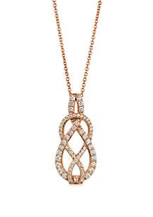 Le Vian® Le Vian® Strawberry 'N Vanilla™ Knots™ Vanilla Diamonds® Pendant Necklace in 14k Strawberry Gold®