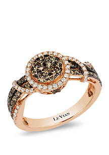 1/5 ct. t.w. Vanilla Diamonds® and 3/4 ct. t.w. Chocolate Diamonds® Ring in 14k Strawberry Gold®