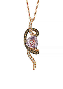 Cotton Candy Amethyst, and Chocolate & Vanilla Diamonds Pendant in 14k Strawberry Gold Necklace