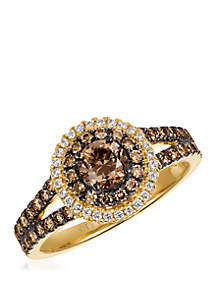7/8 ct. t.w. Chocolate Diamonds® and 1/10 ct. t.w. Vanilla Diamonds® Ring in 14k Honey Gold™