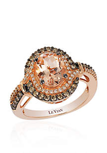 14K Strawberry Gold Morganite And Diamond Ring