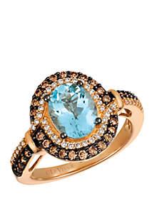 1/3 ct. t.w. Chocolate Diamonds®, 1/5 ct. t.w. Vanilla Diamonds™ and 1.38 ct. t.w. Sea Blue Aquamarine® Ring in 14k Strawberry Gold®