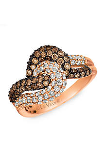 Le Vian® Le Vian Chocolatier Chocolate Diamonds and Vanilla Diamonds Ring set in 14K Strawberry Gold