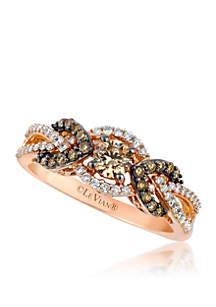 Le Vian Chocolatier Chocolate Diamonds and Vanilla Diamonds Ring in 14K Strawberry Gold