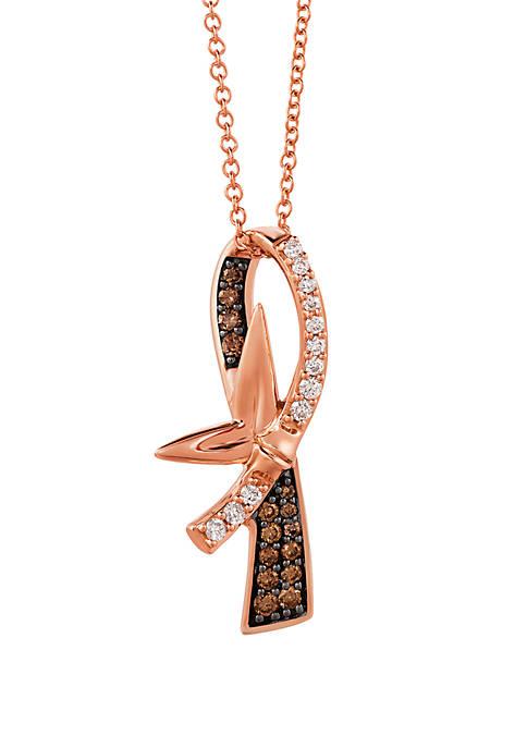 1/6 ct. t.w. Chocolatier® Chocolate Diamonds® and 1/4 ct. t.w. Vanilla Diamonds® Pendant in 14k Strawberry Gold®