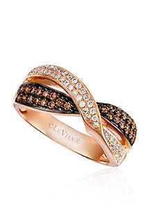 0.21 ct. t.w. Vanilla Diamonds® and 0.33 ct. t.w. Chocolate Diamonds® Chocolatier Ring in 14k Strawberry Gold®