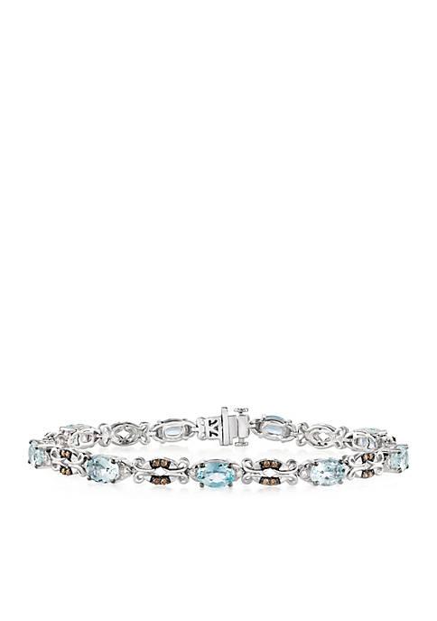 Sea Blue Aquamarine and Chocolate & Vanilla Diamonds Bracelet in 14k Vanilla Gold