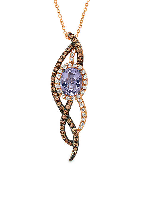 Vibrant Orchid Cotton Candy Amethyst and Chocolate & Vanilla Diamonds Pendant in 14k Strawberry Gold