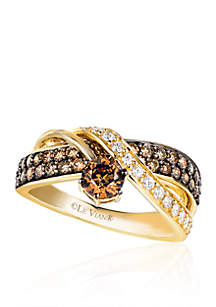 Le Vian® Chocolatier® Chocolate Diamonds® and Vanilla Diamonds® Ring in 14k Honey Gold™
