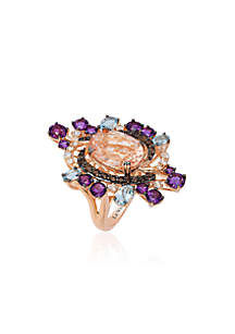 Peach Morganite, Sea Blue Aquamarine, Grape Amethyst Chocolate Quartz, and Vanilla Topaz Ring in 14k Strawberry Gold