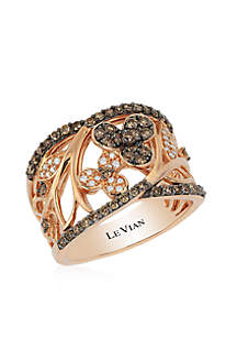 Vanilla Diamonds® and Chocolate Diamonds® Ring in 14K Strawberry Gold®