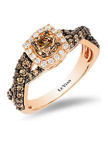 Chocolatier® Ring with Chocolate Diamonds® and Vanilla Diamonds® in 14K Strawberry Gold