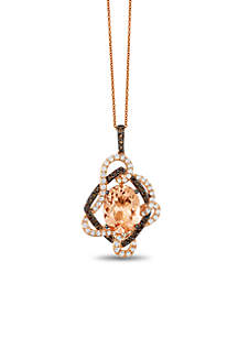 Crazy Collection Peach Morganite, Chocolate Quartz, and Vanilla Topaz Pendant in 14k Strawberry Gold