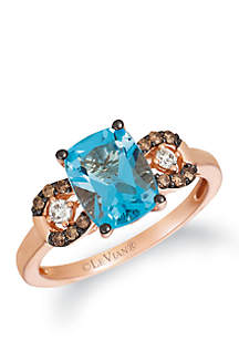 2.35 ct. t.w. Ocean Blue Topaz™, 1/8 ct. t.w. Chocolate Diamonds® and 1/10 Vanilla Diamonds® Ring in 14k Strawberry Gold®